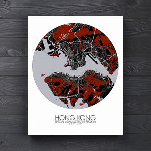 Mapospheres Hong Kong Red dark round shape design canvas city map