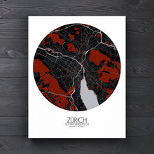 Load image into Gallery viewer, Mapospheres zurich Red Dark round shape design canvas city map