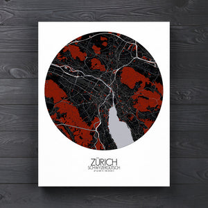 Mapospheres zurich Red Dark round shape design canvas city map
