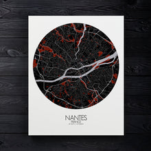 Load image into Gallery viewer, Mapospheres Nantes Red dark round shape design canvas city map