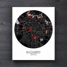 Load image into Gallery viewer, Mapospheres bucharest Red Dark round shape design canvas city map