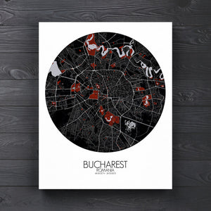 Mapospheres bucharest Red Dark round shape design canvas city map
