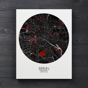 Mapospheres Montreal Red dark round shape design canvas city map