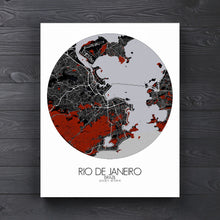 Load image into Gallery viewer, Mapospheres Rio de Janeiro Red dark round shape design canvas city map