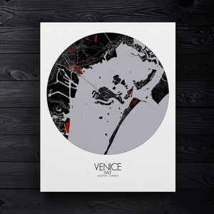 Mapospheres Venice Red dark round shape design canvas city map