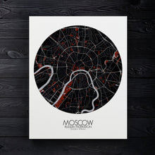 Load image into Gallery viewer, Mapospheres Moscow Red dark round shape design canvas city map