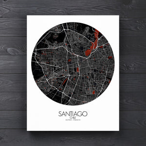 Mapospheres Santiago Red dark round shape design canvas city map