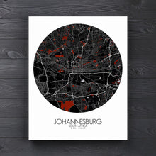 Load image into Gallery viewer, Mapospheres Johannesburg Red dark round shape design canvas city map