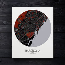 Load image into Gallery viewer, Mapospheres Barcelona Red dark round shape design canvas city map