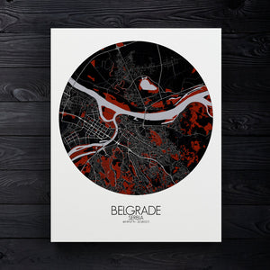 Mapospheres Belgrade Red dark round shape design canvas city map