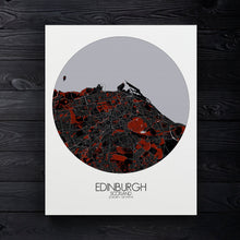 Load image into Gallery viewer, Mapospheres Edinburgh Red dark round shape design canvas city map