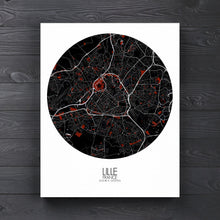 Load image into Gallery viewer, Mapospheres Lille Red dark round shape design canvas city map