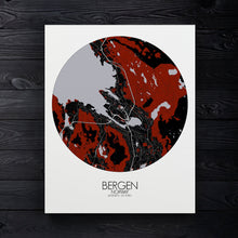 Load image into Gallery viewer, Mapospheres Bergen Red dark round shape design canvas city map