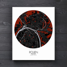 Load image into Gallery viewer, Mapospheres Rouen Red dark round shape design canvas city map