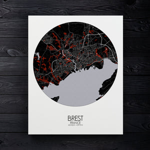 Mapospheres Brest Red dark round shape design canvas city map