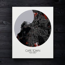 Load image into Gallery viewer, Mapospheres Cape Town Red dark round shape design canvas city map