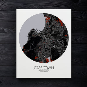 Mapospheres Cape Town Red dark round shape design canvas city map