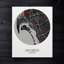 Load image into Gallery viewer, Mapospheres San Diego Red dark round shape design canvas city map