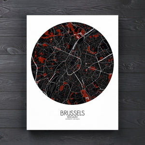 Mapospheres brussels Red Dark round shape design canvas city map