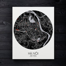 Load image into Gallery viewer, Mapospheres Hanoi Red dark round shape design canvas city map