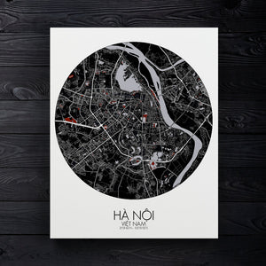 Mapospheres Hanoi Red dark round shape design canvas city map