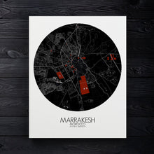 Load image into Gallery viewer, Mapospheres Marrakesh Red dark round shape design canvas city map