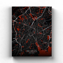 Load image into Gallery viewer, Mapospheres brussels Red Dark full page design canvas city map
