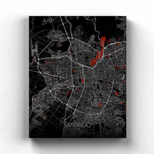 Load image into Gallery viewer, Mapospheres Santiago Red dark full page design canvas city map