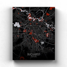 Load image into Gallery viewer, Mapospheres bucharest Red Dark full page design canvas city map