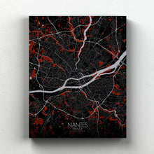 Load image into Gallery viewer, Mapospheres Nantes Red dark full page design canvas city map
