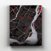 Load image into Gallery viewer, Mapospheres Montreal Red dark full page design canvas city map