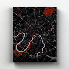 Load image into Gallery viewer, Mapospheres Moscow Red dark full page design canvas city map