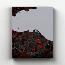 Load image into Gallery viewer, Mapospheres Edinburgh Red dark full page design canvas city map