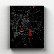 Load image into Gallery viewer, Mapospheres Marrakesh Red dark full page design canvas city map