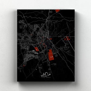 Mapospheres Marrakesh Red dark full page design canvas city map