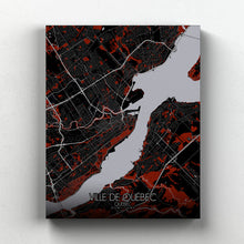 Load image into Gallery viewer, Mapospheres Quebec Red dark full page design canvas city map