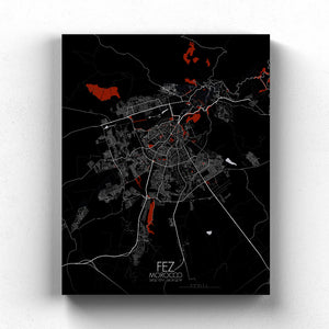 Mapospheres fez Red Dark full page design canvas city map