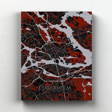 Load image into Gallery viewer, Mapospheres stockholm Red Dark full page design canvas city map