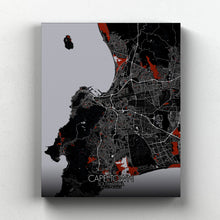 Load image into Gallery viewer, Mapospheres Cape Town Red dark full page design canvas city map
