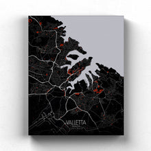 Load image into Gallery viewer, Mapospheres valletta Red Dark full page design canvas city map