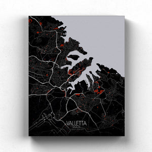 Mapospheres valletta Red Dark full page design canvas city map