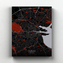 Load image into Gallery viewer, Mapospheres dublin Red Dark full page design canvas city map