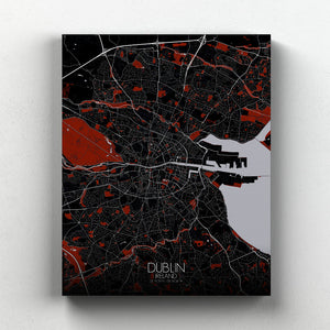 Mapospheres dublin Red Dark full page design canvas city map
