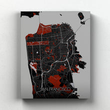 Load image into Gallery viewer, Mapospheres San Francisco Red dark full page design canvas city map