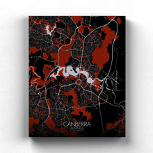Load image into Gallery viewer, Mapospheres Canberra Red dark full page design canvas city map