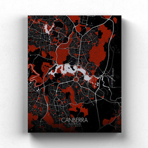 Mapospheres Canberra Red dark full page design canvas city map