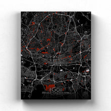 Load image into Gallery viewer, Mapospheres Johannesburg Red dark full page design canvas city map