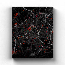 Load image into Gallery viewer, Mapospheres Lille Red dark full page design canvas city map
