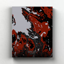 Load image into Gallery viewer, Mapospheres Bergen Red dark full page design canvas city map