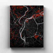 Load image into Gallery viewer, Mapospheres Lyon Red dark full page design canvas city map